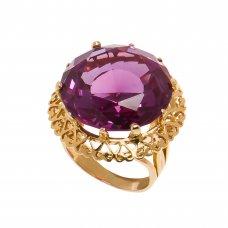 Inel din aur galben 18K, ornamentat cu alexandrit, circumferinta - 49.5 mm, IAU159