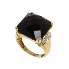 Inel din aur galben 14K cu onix si diamante, circumferinta 55 mm, IAU161