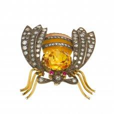 Brosa-pandantiv din aur, argint, email, citrin, diamante, rubine, BRAU12