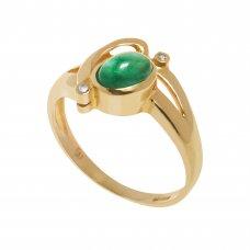 Inel aur galben 14K, cu smarald si diamante, circumferinta - 48 mm, IAU246