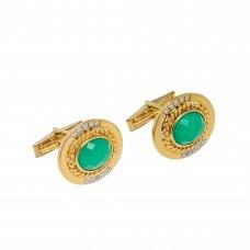 Butoni din aur 14K cu agat verde si diamante naturale, BTNAU2
