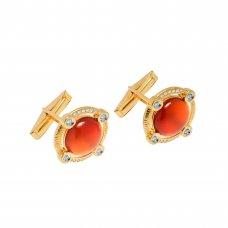 Butoni din aur galben 14K cu agat rosu si diamante naturale, BTNAU1