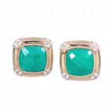 Butoni din aur 14K cu agat verde si diamante, BTNAU3