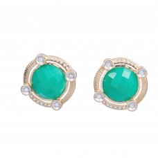 Butoni din aur 14K cu agat verde si diamante, BTNAU4
