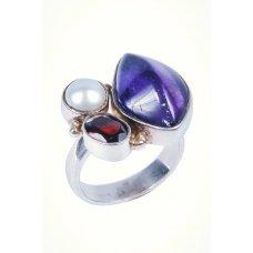 Inel din Argint cu Ametist, Granat si Perla, IAG2