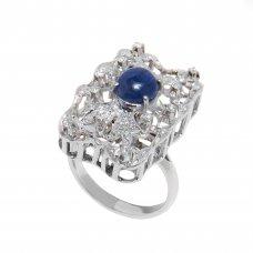 Inel aur alb 18K cu safir si diamante, circumferinta - 54.5 mm, IAU6