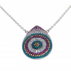 Lant cu pandantiv ornamentat cu zirconii multicolore, LPAG18