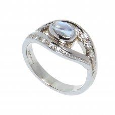 Inel aur alb 14K, Piatra lunii cabochon, pavaj cu diamante, circumferinta 52 mm, IAU30