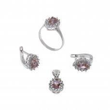 """Set cercei, inel si pandantiv din argint 925, ornamentat cu zultanit """"poire"""" in anturaj de zirconii, circumferinta inel 57 mm, SAG132"""