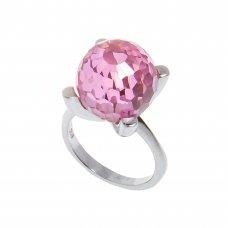 Inel din argint 925, cuart roz, sfera, fatetat, circumferinta 54 mm, IAG236