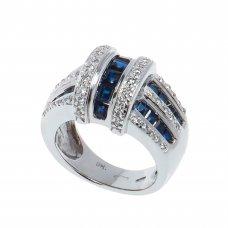 Inel aur alb 14 K, safire si diamante, circumferinta 53 mm, IAU55