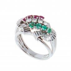 Inel aur alb 14K, model vegetal, cu smaralde, rubine si diamante, circumferinta 52 mm, IAU38