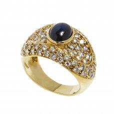 Inel aur galben 18 K, safir cabochon si 78 diamante, 1.95 ct, circumferinta 52 mm, IAU57