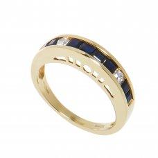 Inel aur galben 18K,  8 safire si 2 diamante, circumferinta 52 mm, IAU67