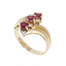 Inel aur galben 14K, rubine si diamante, circumferinta 52 mm, IAU65
