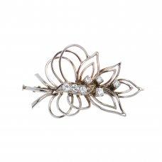 Brosa frunza din aur alb 14K cu diamante, BRAU2